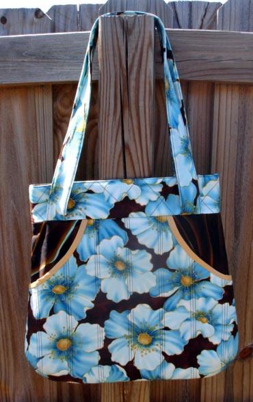 Brown Blue Pockets Bag