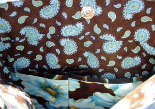 Brown Blue Pockets Inside