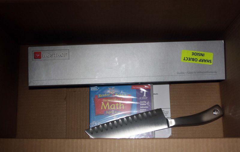 Amazon box with knife